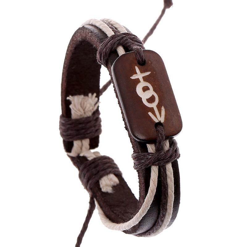 Bovine Bone Woven Leather Bracelet Wholesale 2 Dollar Store Bracelets Unisex Engraved with Heart and Arrow Leather Bracelet(China (Mainland))