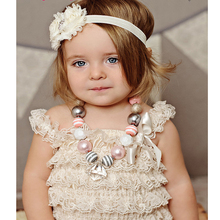 Hot sale summer baby clothes Set petti lace romper girl fashion infant toddler romper set(China (Mainland))