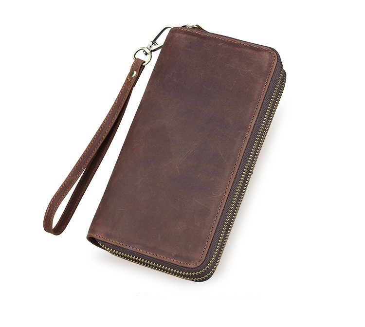 retro personality Mens wallet Leather genuine brand Crazy horse Leather long double zipper wallet purses men(China (Mainland))