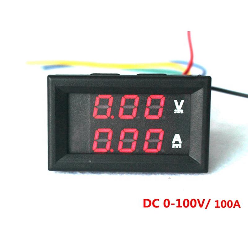 4pcs/lot Red LED display Digital DC voltmeter ammeter  DC 0-100V/100A  Volt Amp meter car Motorcycle Battery Monitor<br><br>Aliexpress