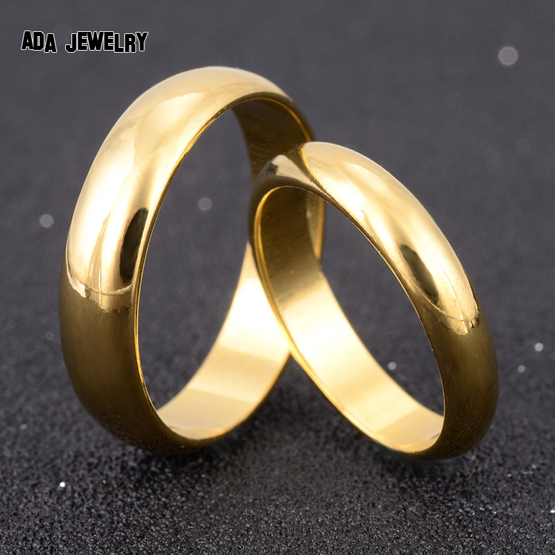 Simple Engagement Wedding Couple Rings Lovers Set 18K Gold ...