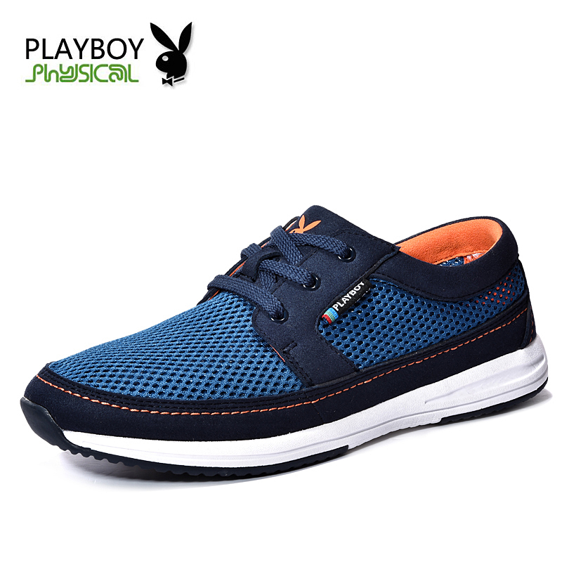 PLAYBOY 2016 Men's Fashion Shoes Summer Zapato Casual Breathable Mesh Flat Exercise Jogging Men Footwear - Feng shang co., LTD store