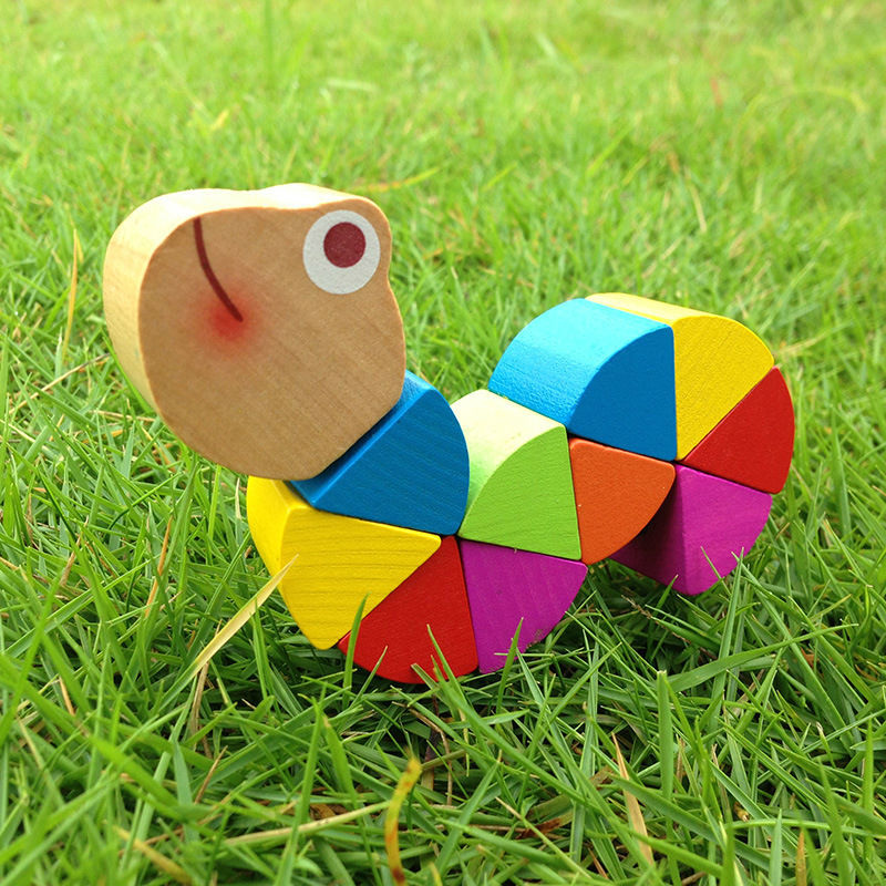 Small Wooden Toy Amazing Color Caterpillars Childrens Educational Toys Dolls Animal Insect Color Shilly,BDB14,Free Shipping(China (Mainland))