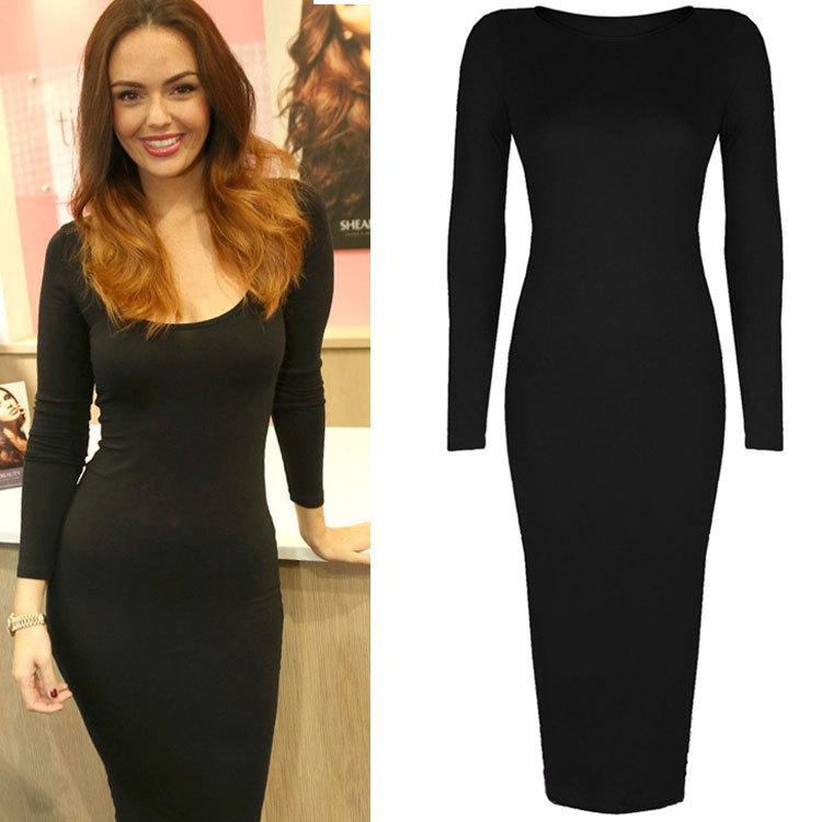 Длинное черное обтягивающее платье