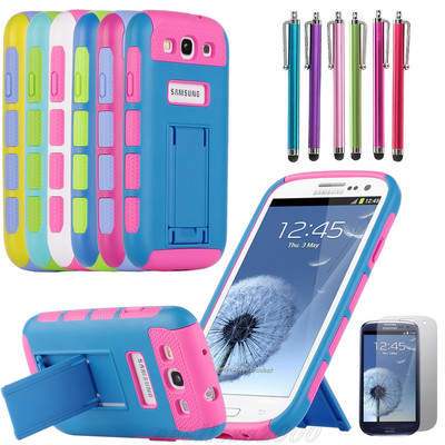 Hybrid Impact Dual Kickstand Silicone Cover Case For Samsung Galaxy S3 i9300 Case Cover Stylus Pen and Screen Protective Film(China (Mainland))