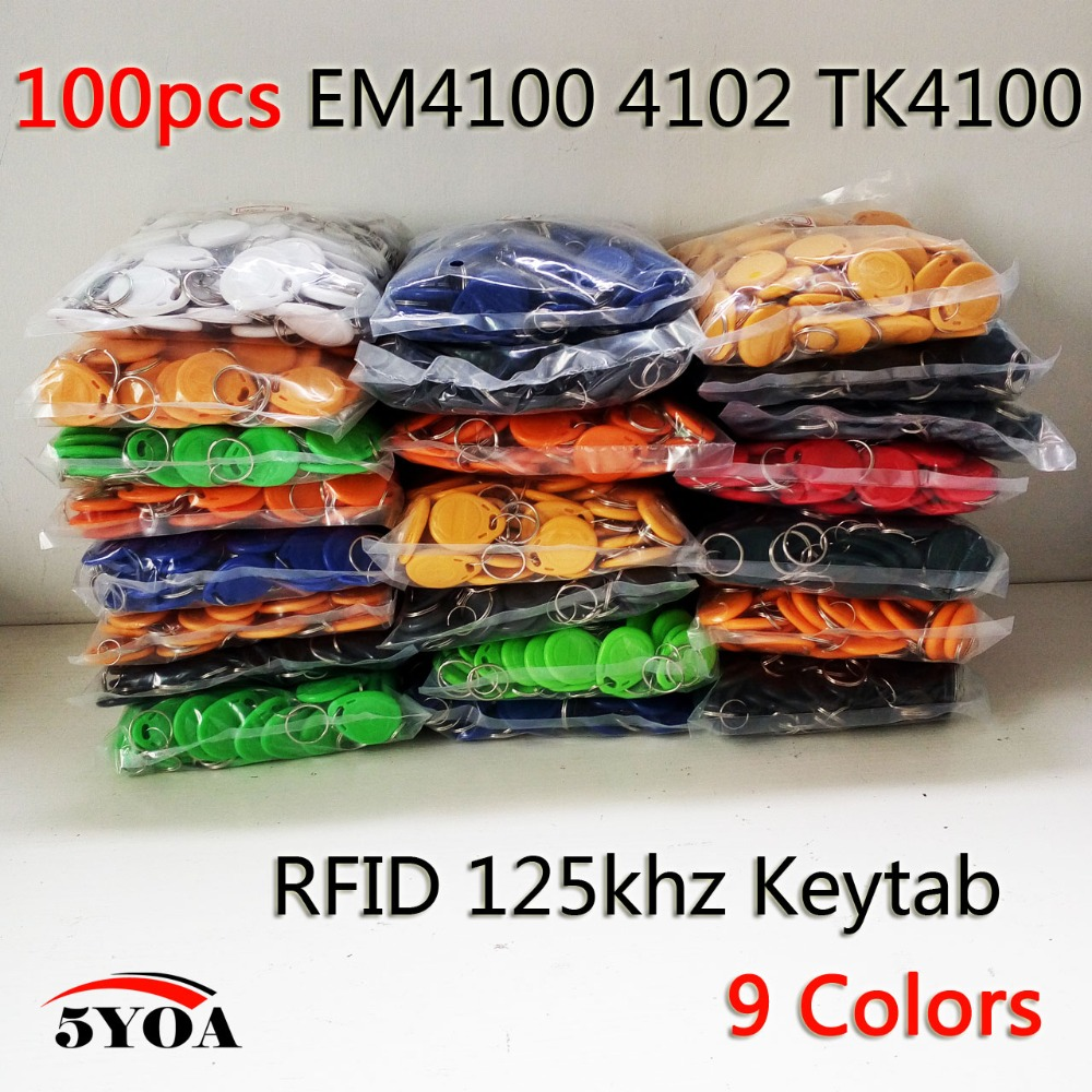 100pcs RFID Tag Proximity ID Token Tags Key Keyfobs Ring 125Khz RFID Card Chip ID em4100 for Access Control Time Attendance(China (Mainland))