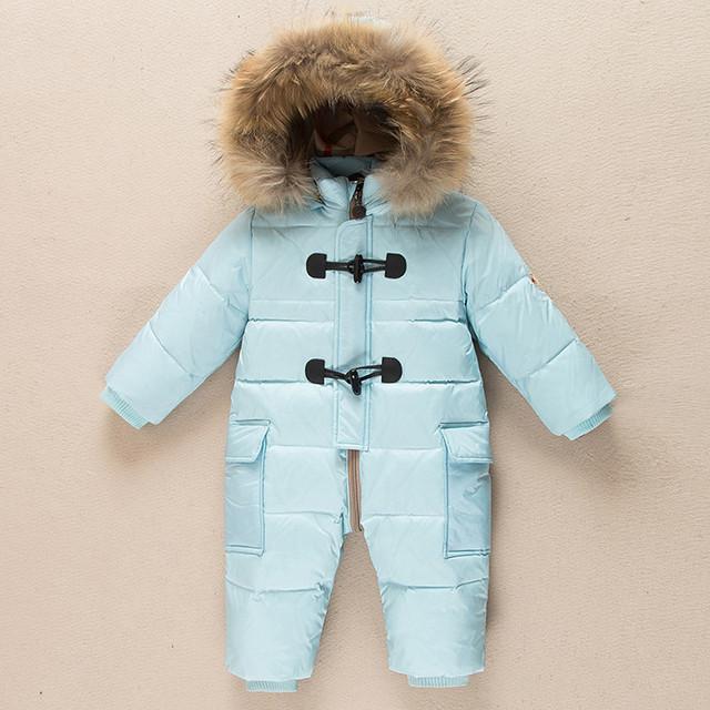 Россия Зима-20 градусов 90% Белая Утка вниз ребенка комбинезон новорожденных сгустите одежда baby rompers младенческой snowsuit 7-24 месяц