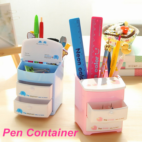 4 pcs/Lot Pen holder Two layer drawer Pencil holder desk organizer Storage Stationery office accessories School supplies 6721(China (Mainland))