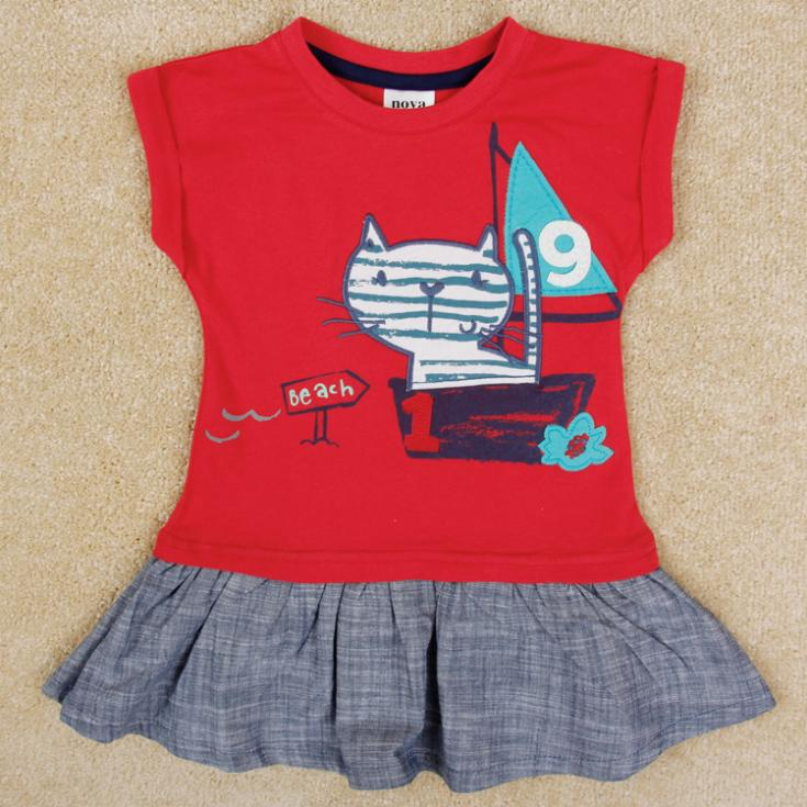 New arrival Kids & Baby lovely girl dress summer casual embroidered cat baby girls dress(China (Mainland))