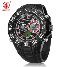 Buy OHSEN Sports Watches Digital Alarm Date Day Stopwatch Analog Mens Casual Quartz Watch Rubber Band Metal Case Military Wristwatch for $19.99 in AliExpress store