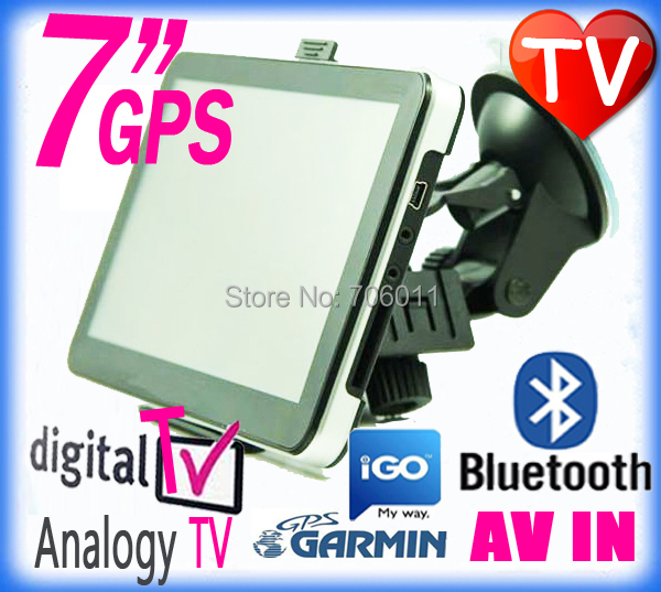 7 inch HD portable car gps Nuvi navigation tv with Analogy / digital tv Bluetooth Av-in Fm 4GB free Map navegadores gps com tv(China (Mainland))
