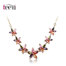 Teemi Multicolor AAA Cubic Zirconia Summer Jewelry Flower Necklace for Women Fashion Elegant Choker Necklace Jewelry Wholesale(China (Mainland))