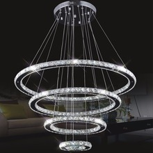 Mirror Stainless Steel Crystal Diamond Lighting Fixtures 4 Rings led Pendant Lights Cristal Dinning Decorative Hanging Lamp(China (Mainland))