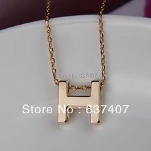 For nec  klace female 18k rose letter h chain short design necklace short necklace accessories(China (Mainland))