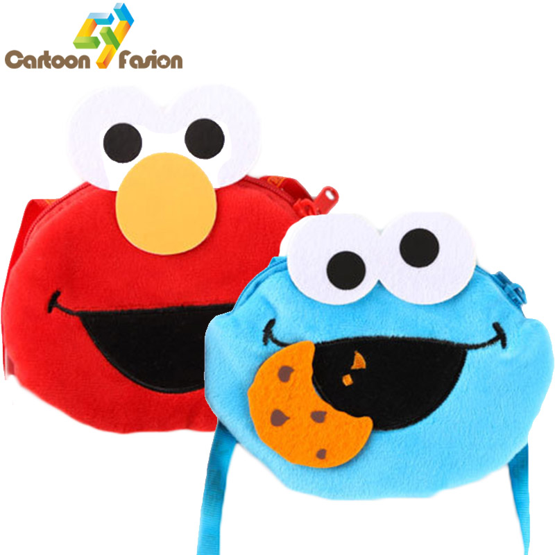 Cute Sesame Street Plush Toys Elmo Cookie Monster Stuffed Dolls Toy Plush Purse Coin Wallet Bag(China (Mainland))