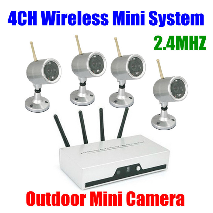 4CH Cameras Wireless DVR Receiver kit Quad CCTV Security System Nightvision Waterproof Outdoor Wifi Wireless Camera set kit