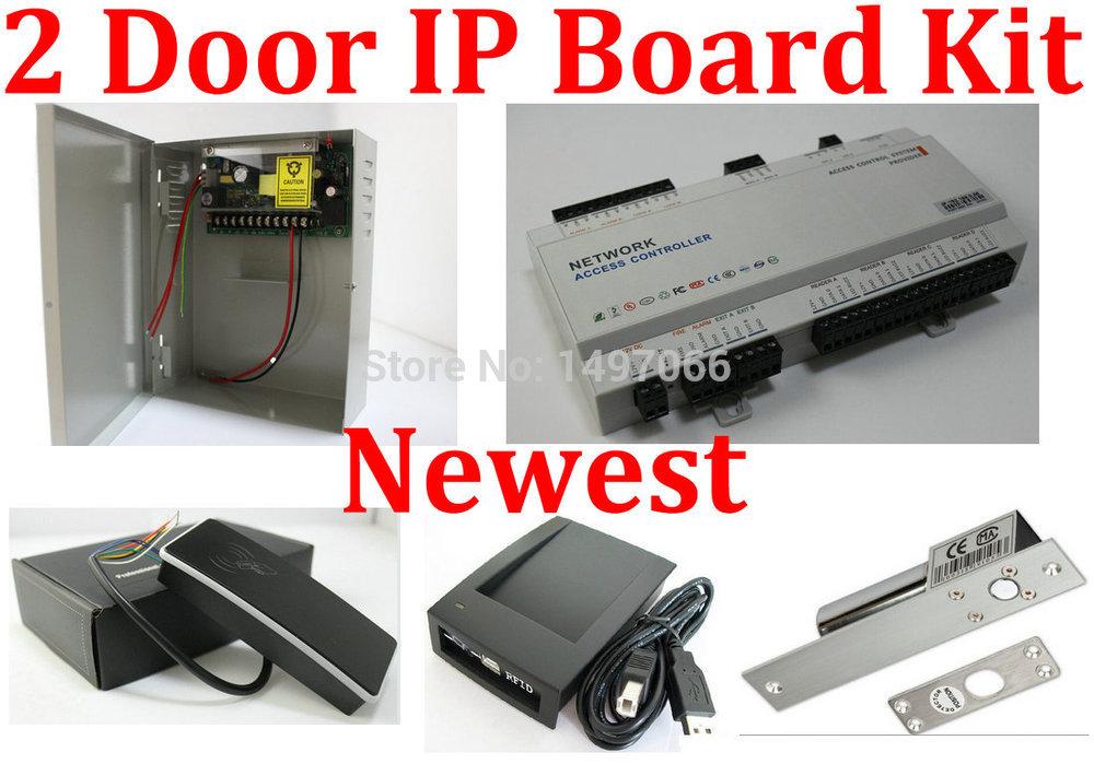 Web IP Control 2 Door Access Controller Board Panel + Electric Bolt Lock+Metal Case Keypad Code+EM Card Reader+Firm alarm+keytag(China (Mainland))