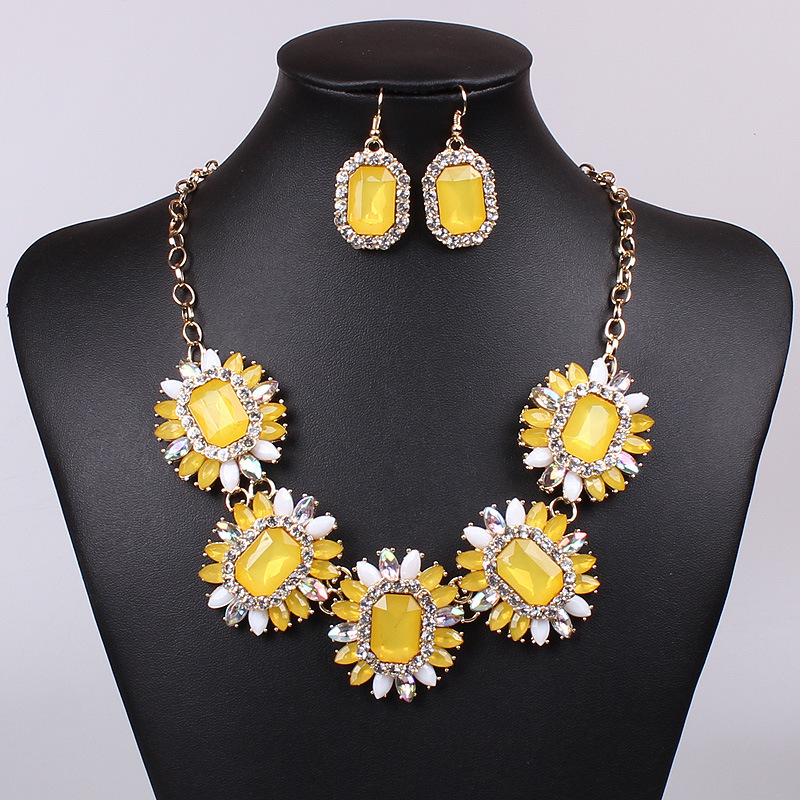 girls wedding accessories jewelry sets rhinestone flower shaped bridal
