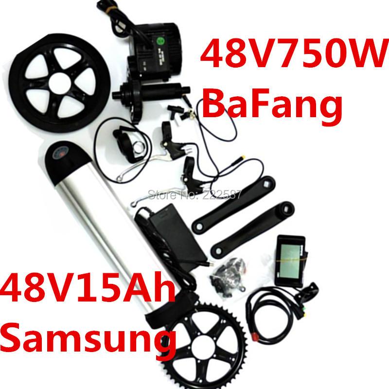 Мотор для электровелосипеда 48v 750w 8fun/+ 48v 15ah Samsung 5C bbs/02 48v 750w bafang 8fun bbs bbs02 bbs02b mid drive motor conversion kits for electric bike middle engine kit c961 c965 850c display