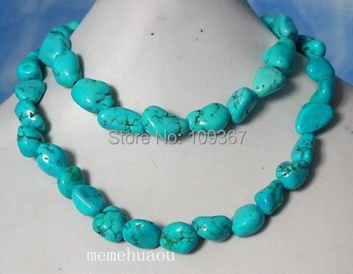 """Exquisite Handicraft TURQUOISE NUGGET BEADS NECKLACE 35"""" Wholesale necklaces gift 14K GP Silver Hook Jewelry shipping free(China (Mainland))"""