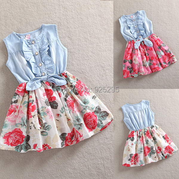 LOWEST PRICE Kid Girls Dress Jean Denim Bow Flower Ruffled Dress Sundress Clothing(China (Mainland))