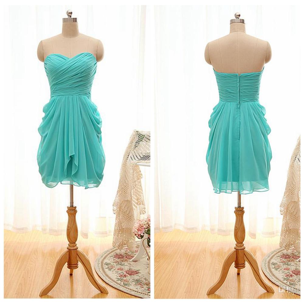 robe demoiselle d 39 honneur2016chiffon turquoise junior bridesmaid dresses knee length pleat. Black Bedroom Furniture Sets. Home Design Ideas