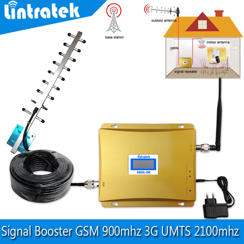 Full set LCD 3G Cellular Signal Booster Cell Phone GSM 900mhz Booster UMTS 2100mhz Mobile Signal Repeater Cellular Amplifier(China (Mainland))