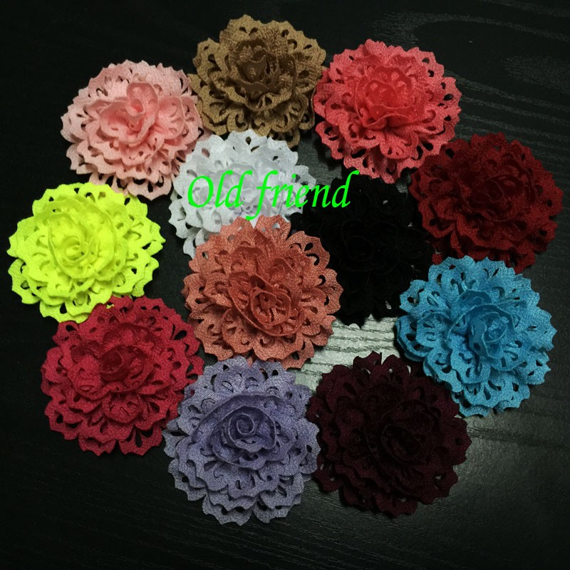 100pcs/lot Fashion Thick Fabric Eyelet Flowers For Kid's Headbands Dress Clothing, Baby Hair Accesorries(China (Mainland))
