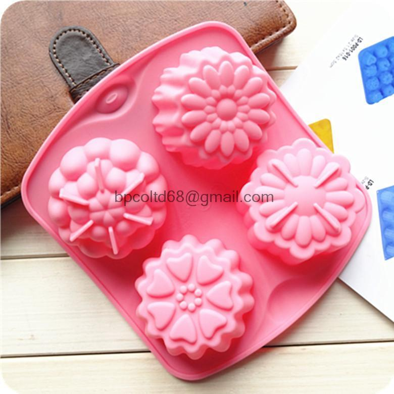 4 even pudding Jello Mold handmade soap molds flower silicone cake mold heat resistant CDSM-032(China (Mainland))