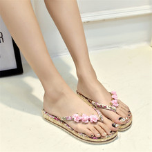 2016 Zapatos Verano Mujer Beach Flowers Flat With Flip Flops Women Fashion Skid High Quality Women's Shoes 3 Colors