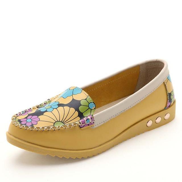Новый 2015 цветок женщины квартиры обувь из натуральной кожи женщина лодка обувь ...