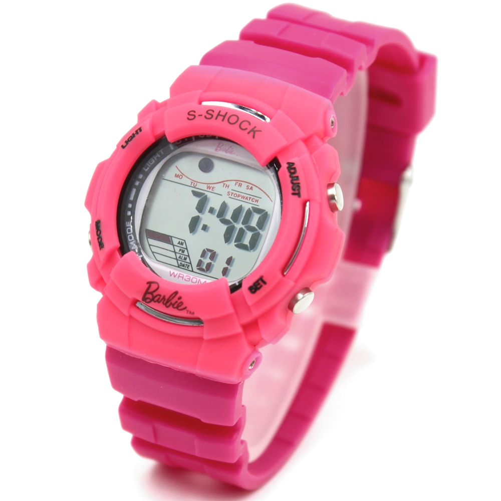 Lovely 6-14 year Children Watches Chronograph Alarm BackLight Water Resistant Girls Pink Color Digital Watch DW209F(China (Mainland))
