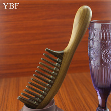 Styling Tools Thickening Green sandalwood Wood Hair Combs makeup Head Massager Antistatic Wooden brush 2015 Health Care gifts(China (Mainland))