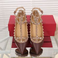 2016 Fashion Women Ankle Strap Flats Metal Studded Shoes Rivets Flat Shoes Pointed Toe Genuine Leather Ballerina Plus Size 34-43(China (Mainland))