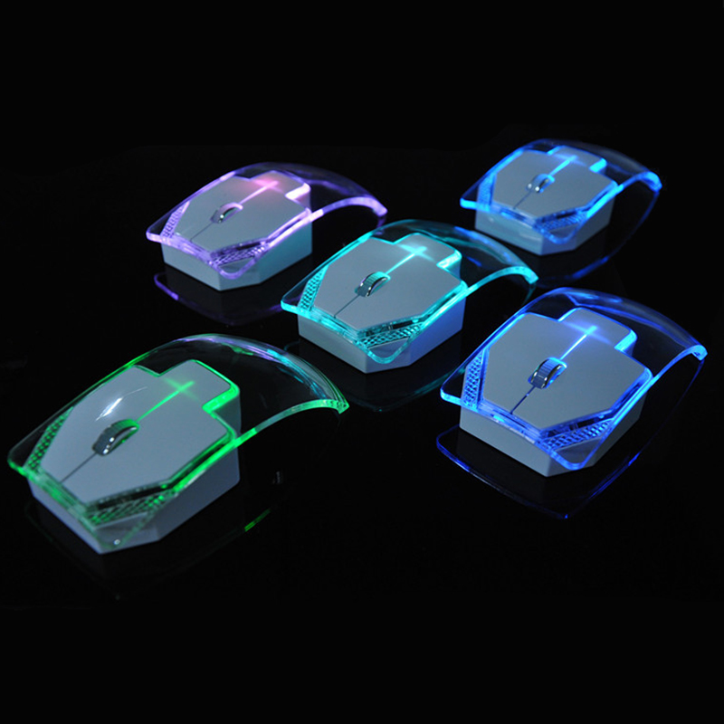 Wireless Laptop Mouse Silent Gamer Transparent LED Ultra-thin 1000DPI Mouse Light Mice for Notebook Desktop Computer(China (Mainland))