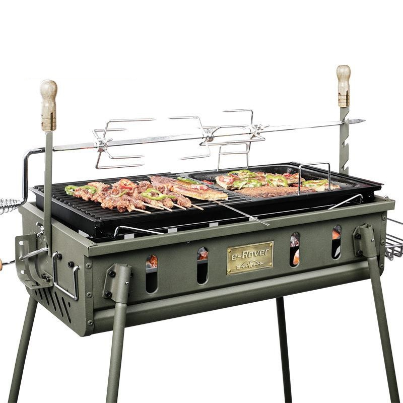 Portable charbon de bois Barbecue Grill inoxydable pliage Grill ...