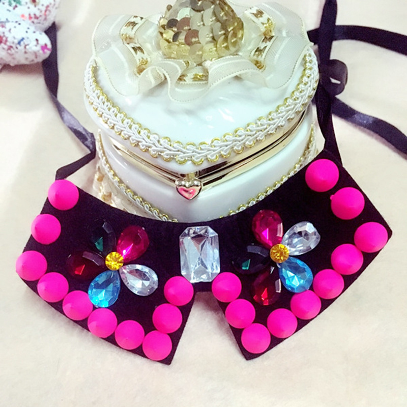 1Piece 2016 New Dog Pet Fashion Necklace Dog Beauty Decoration Bow Style Collar Necklace Rose Red Green Color Free Shipping(China (Mainland))