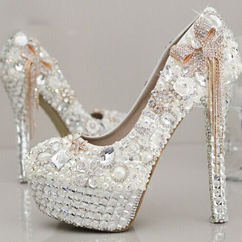 Newest Style Stunning Rhinestone Pearl Wedding Shoes Crystal Pride ...