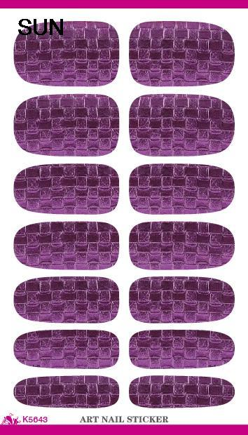 Free Shipping Nail Tool Purple Plaid Design Water Transfer 3d Nail Art Sticker Minx Fashion Manicure Decoration Decals Wholesale(China (Mainland))