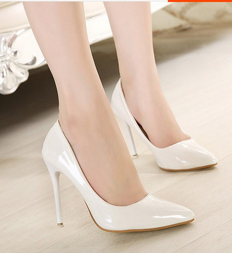 White Pointed Toe High Heels | Tsaa Heel