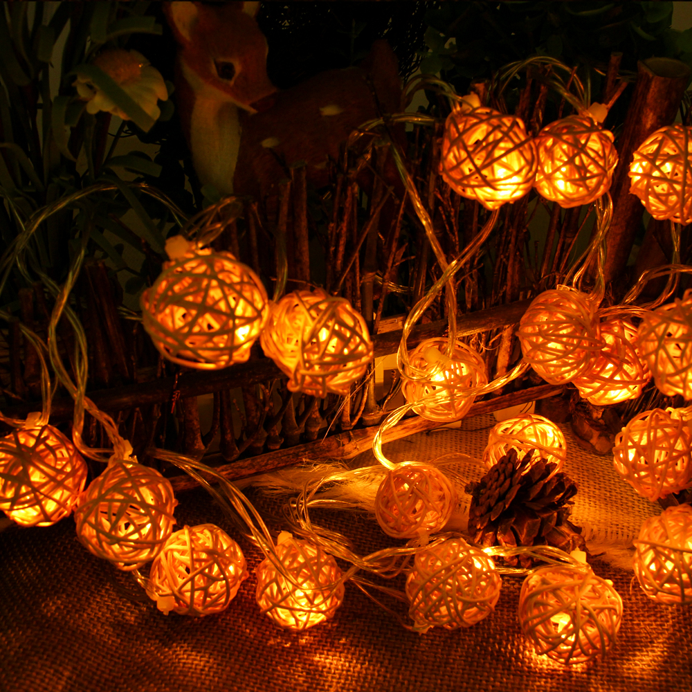 connectable 5M 20leds christmas lights indoor outdoor Rattan Ball LED String Lighting Wedding ...