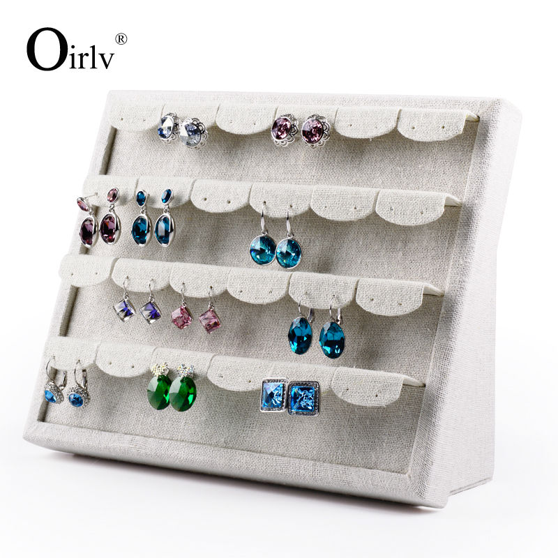 Oirlv Free Shipping Functional Earrings Holder Jewelry Display Shelf Stand Beige Linen 24 Free Piercing Pads Shop Organzier(China (Mainland))