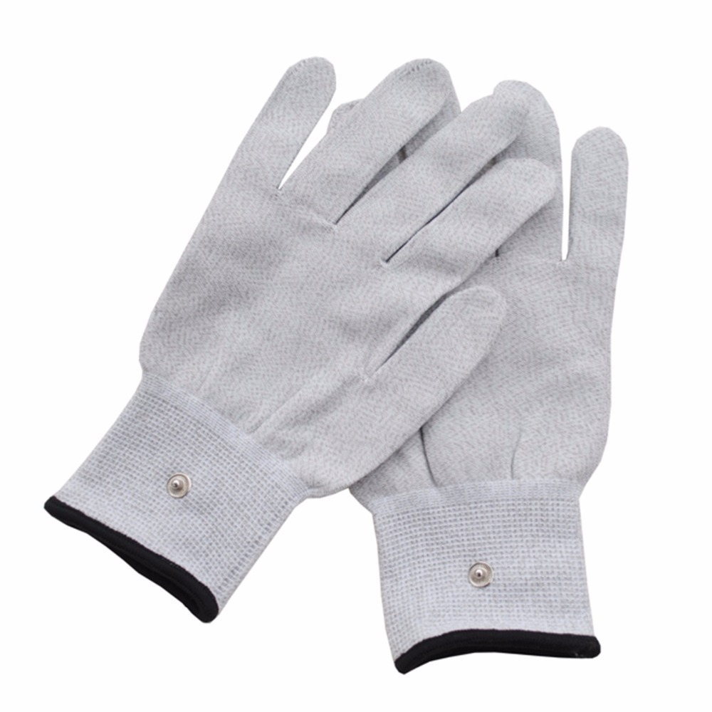 1 pair Silver conductive fiber Massage gloves for TENS/EMS physical therapy Hand Massager Anti-static/Anti-skid electrode gloves(China (Mainland))