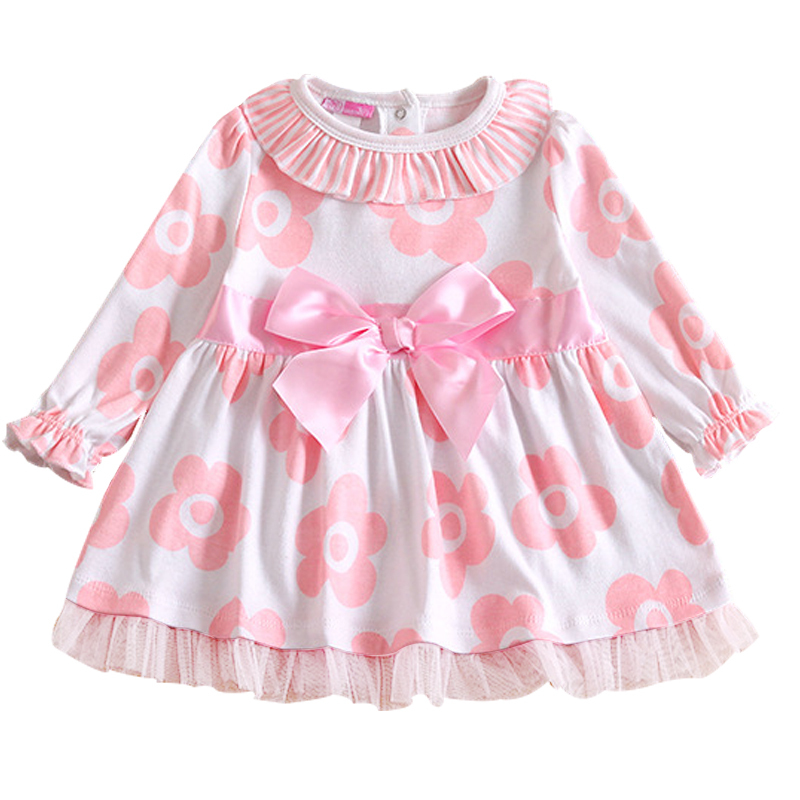 Age 0-2 Spring Baby Girl Princess Floral Leopard Dress Newborn Infant Minena Clothing Christening Dresses with Bows(China (Mainland))