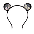 M MISM Girl Mouse Ears Hair Clasp For Women Rhinestone Ears Hairband Headband Female Party Self