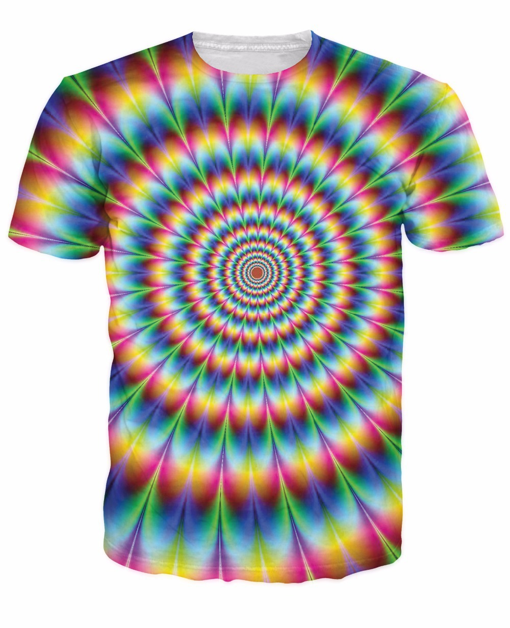 2015 New Arrive 3d Fashion Clothing Women Men tees Into the Rainbow T-Shirt psychedelic Colorful t shirt Summer Style camisetasОдежда и ак�е��уары<br><br><br>Aliexpress