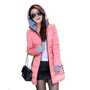 Женщин с капюшоном хлопок - хлопка-ватник зимой средней длины хлопок Большой размер женские тонкие дамы куртки пальто подарок