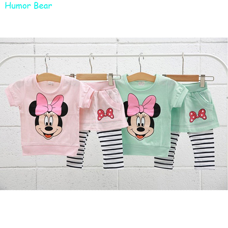 Humor Bear Summer New Children Girl's 2PC Sets cartoon baby Clothing sets girls clothes(China (Mainland))
