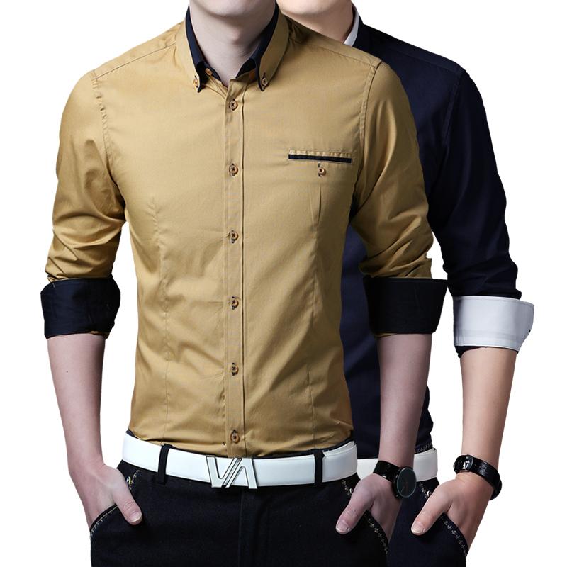 2016 mens dress shirts social high quality business casual