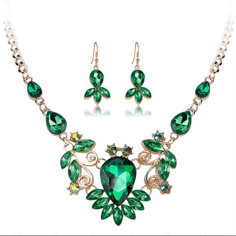 jewelry sets fashion 18k gold plated women Crystal necklace earrings African wedding wholesale sapphire statement set jeweller(China (Mainland))